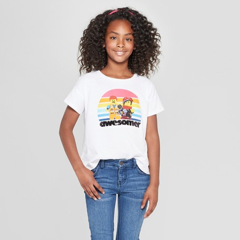 Girls' The LEGO Movie 2 Flip Sequin Short Sleeve T-Shirt - White - image 1 of 4