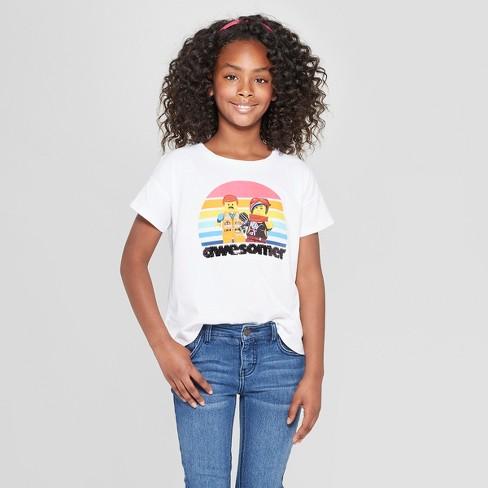 0b0c4f30 Girls' The LEGO Movie 2 Flip Sequin Short Sleeve T-Shirt - White : Target