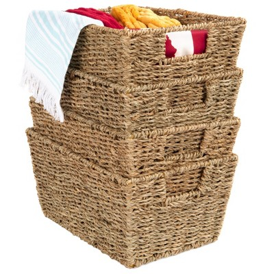 Best Choice Products Set of 4 Multipurpose Stackable Seagrass Storage Laundry Organizer Baskets w/ Handles
