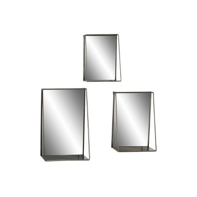 Set of 3 Large industrial Metal Rectangular Wall Mirrors with Shelves Black - Olivia & May