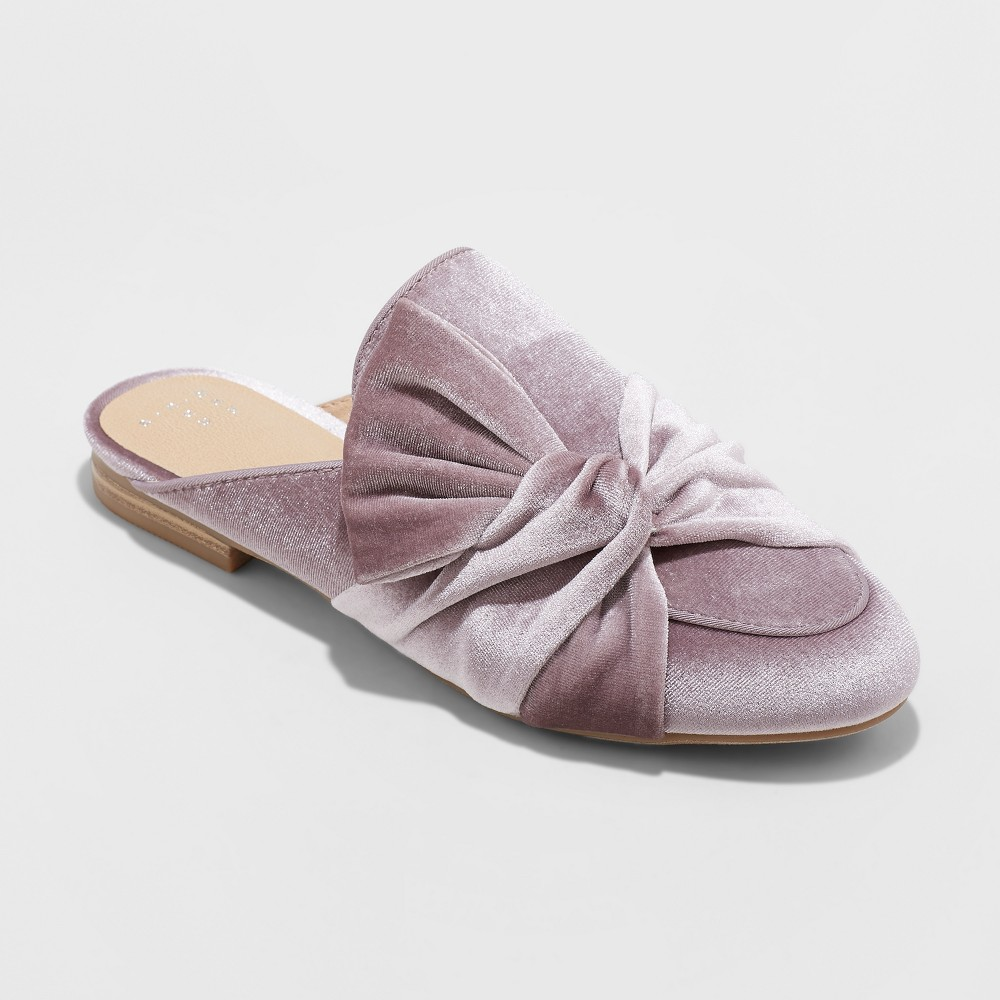 Women's Holland Velvet Knotted Mules - A New Day Lavender 6, Purple