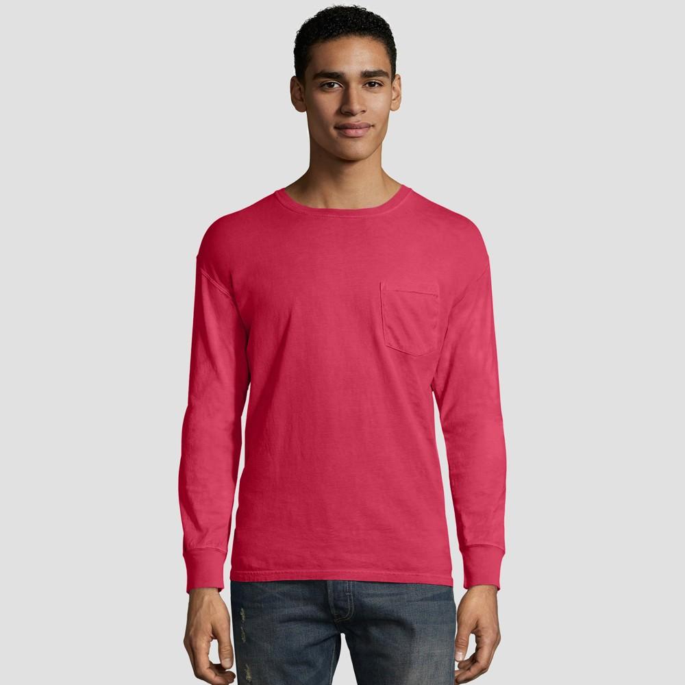 Hanes Men's Long Sleeve 1901 Garment Dyed Pocket T-Shirt - Crimson (Red) M