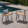 Zion 2pk Acacia Wood & Iron Industrial Chair - Teak- Christopher Knight Home - image 2 of 4