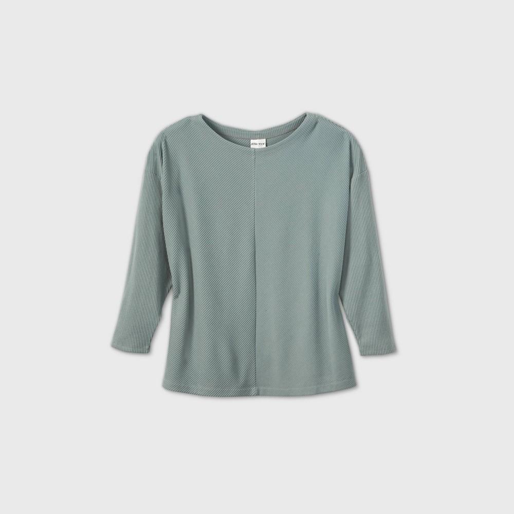 Discounts Women's Plus Size Long Sleeve Leisure T-Shirt - Ava & Viv™