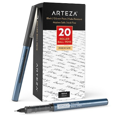 Arteza Roller Ball Pens, Black, 0.5 mm Needle Point - Pack of 20