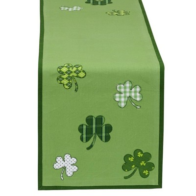 "54"" x 14"" Cotton Lucky Day Table Runner Green - Design Imports"