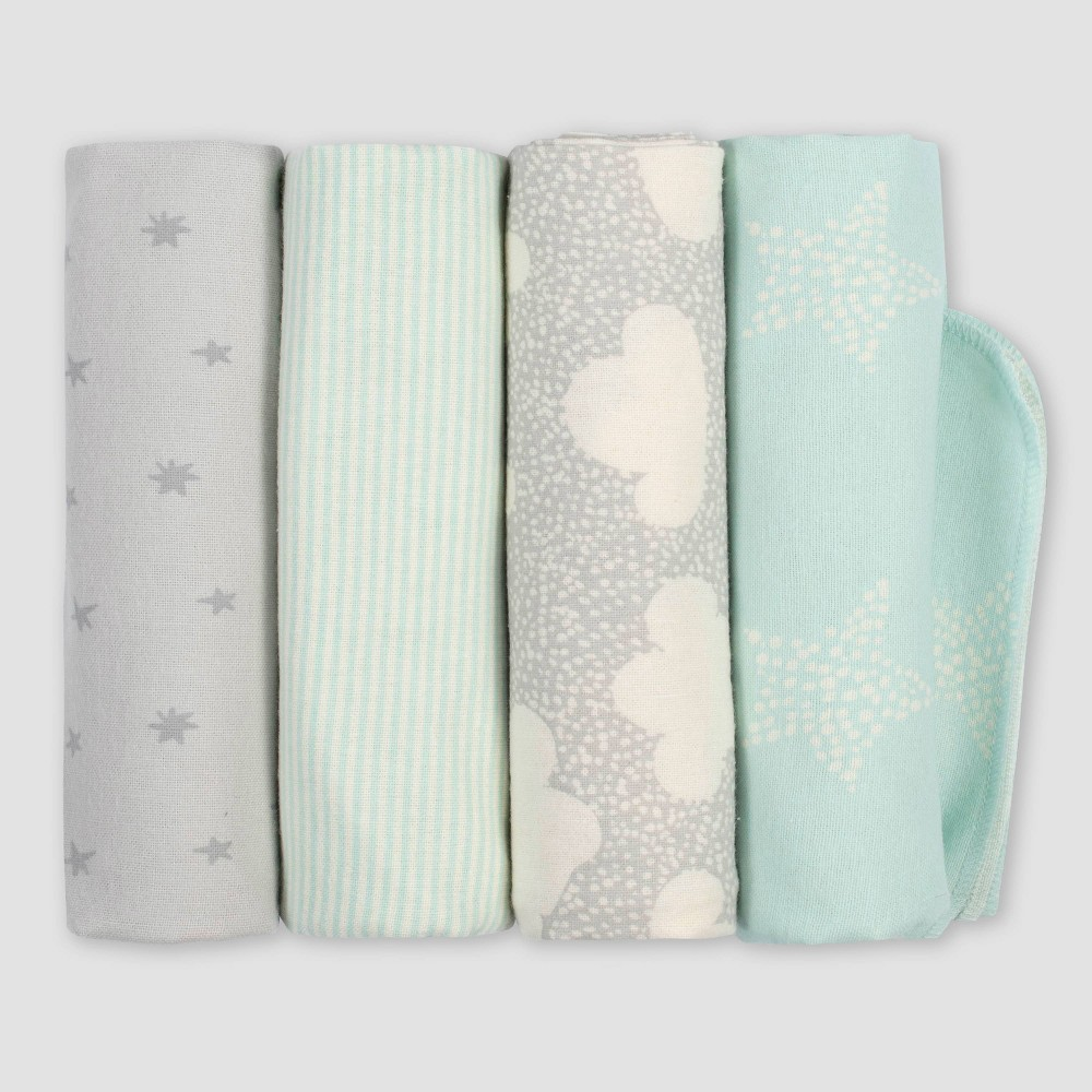 Image of Gerber Baby 4pk Flannel Receiving Blankets Giraffe - Turquoise/Gray