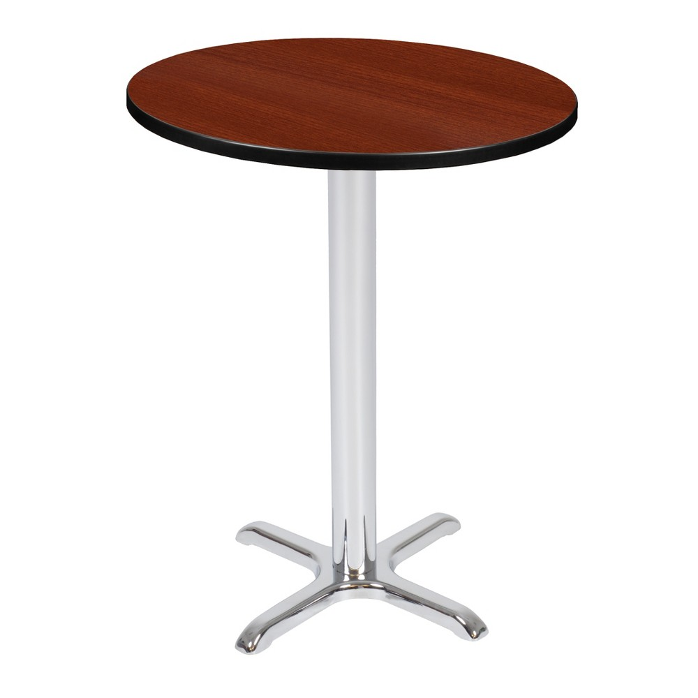 30 Via Cafe High Round X - Base Table Cherry/Chrome (Red/Grey) - Regency
