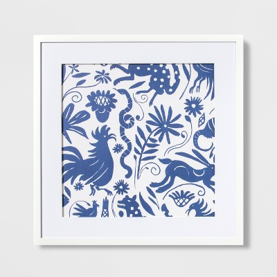 """22"""" x 22"""" Abstract Animals Lithograph Wall Art Blue/White - Opalhouse™"""
