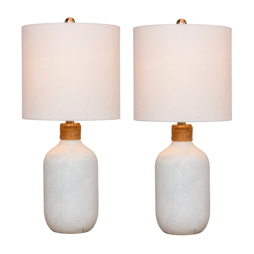 Image of 2pk Island Jug Glass Table Lamps White - Fangio Lighting