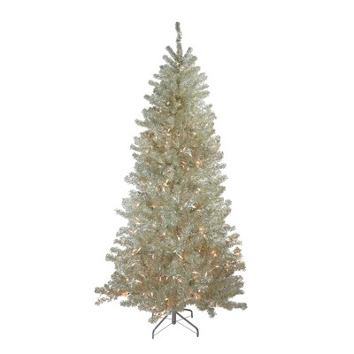 Northlight 7' Prelit Artificial Christmas Tree Metallic Sheer Champagne Tinsel - Clear Lights