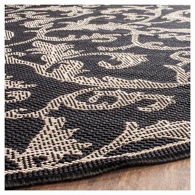 '5'3'' Round Jassy Outer Patio Rug Black/Sand - Safavieh, Size: 5'3'' Round, Black/Brown'