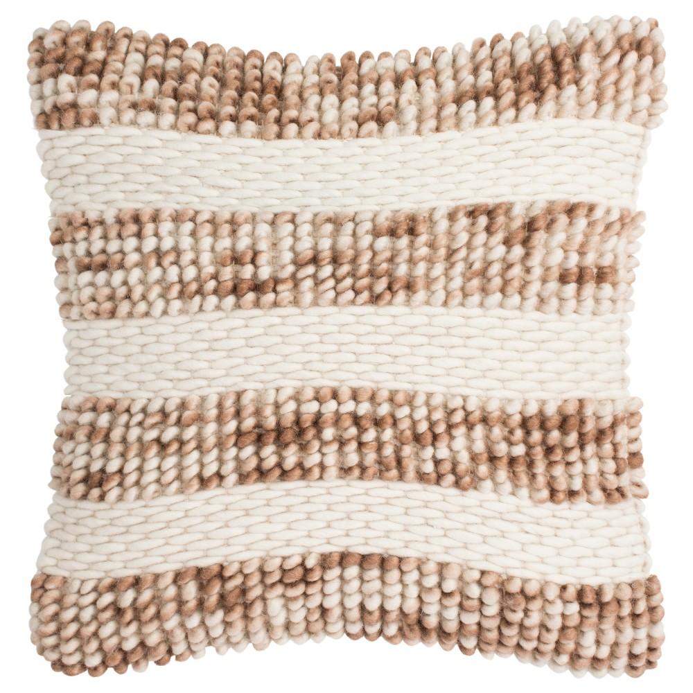 Loop & Weaved Striped Square Throw Pillow Beige - Safavieh