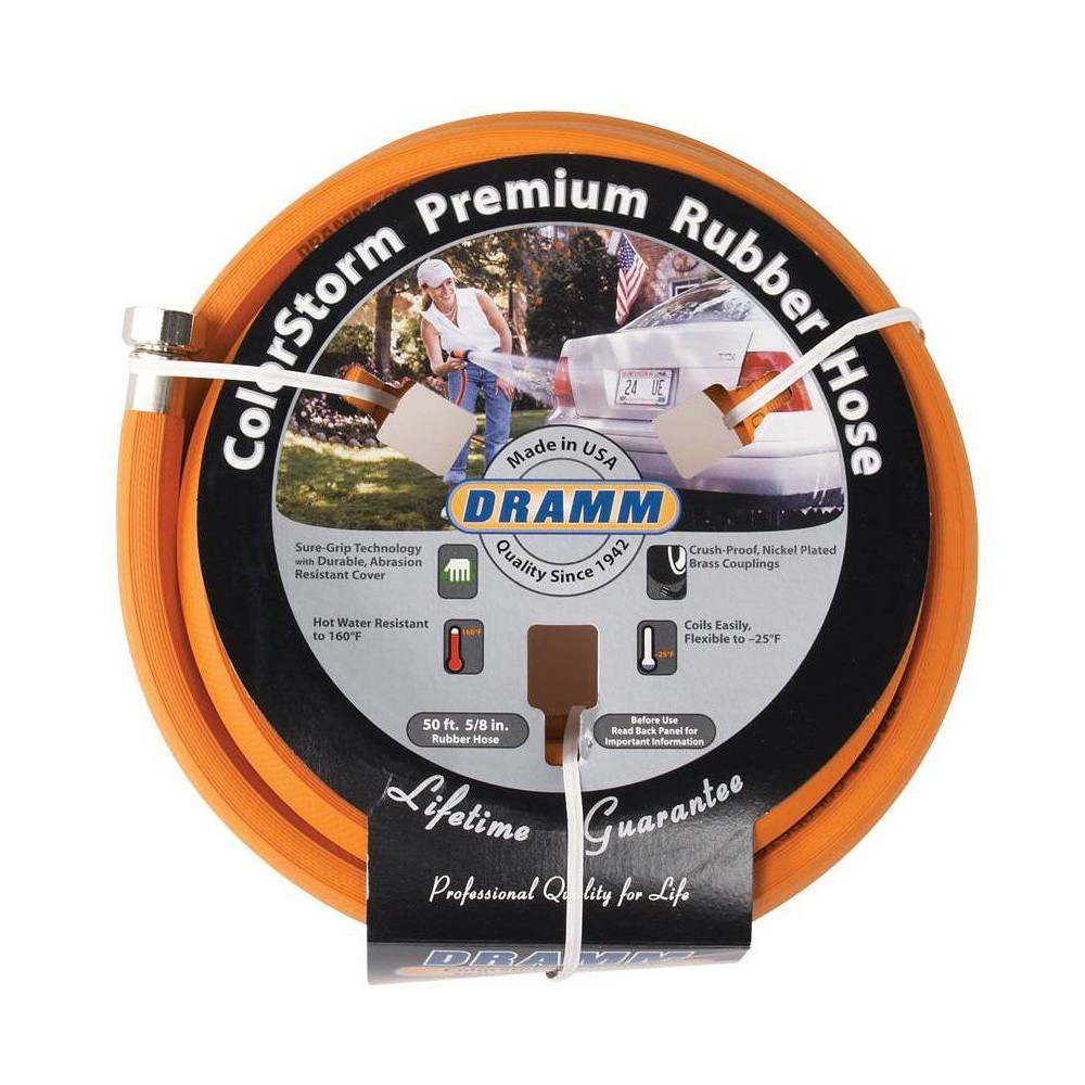 Image of 50' ColorStorm Premium Rubber Garden Hose Orange - Dramm