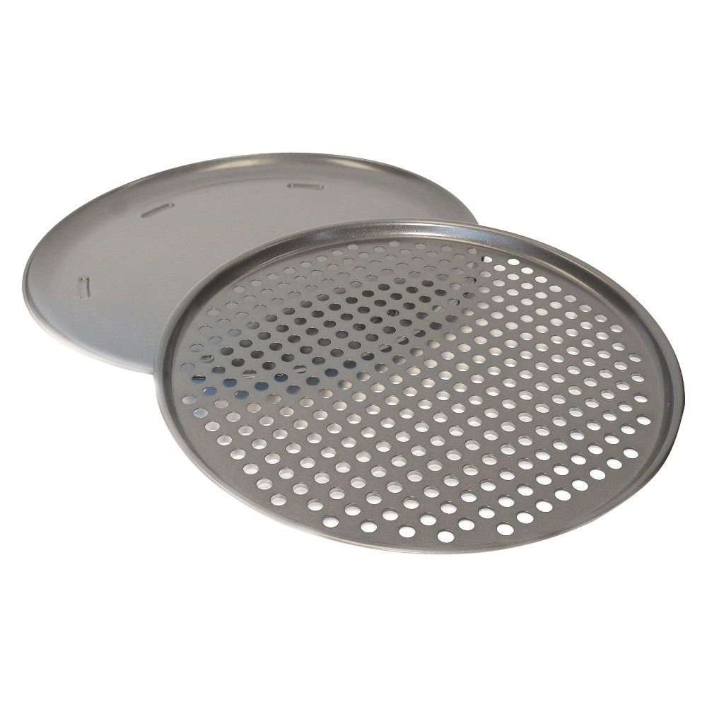 Image of Chloe's Kitchen 2pc Pizza Pan Set, Silver