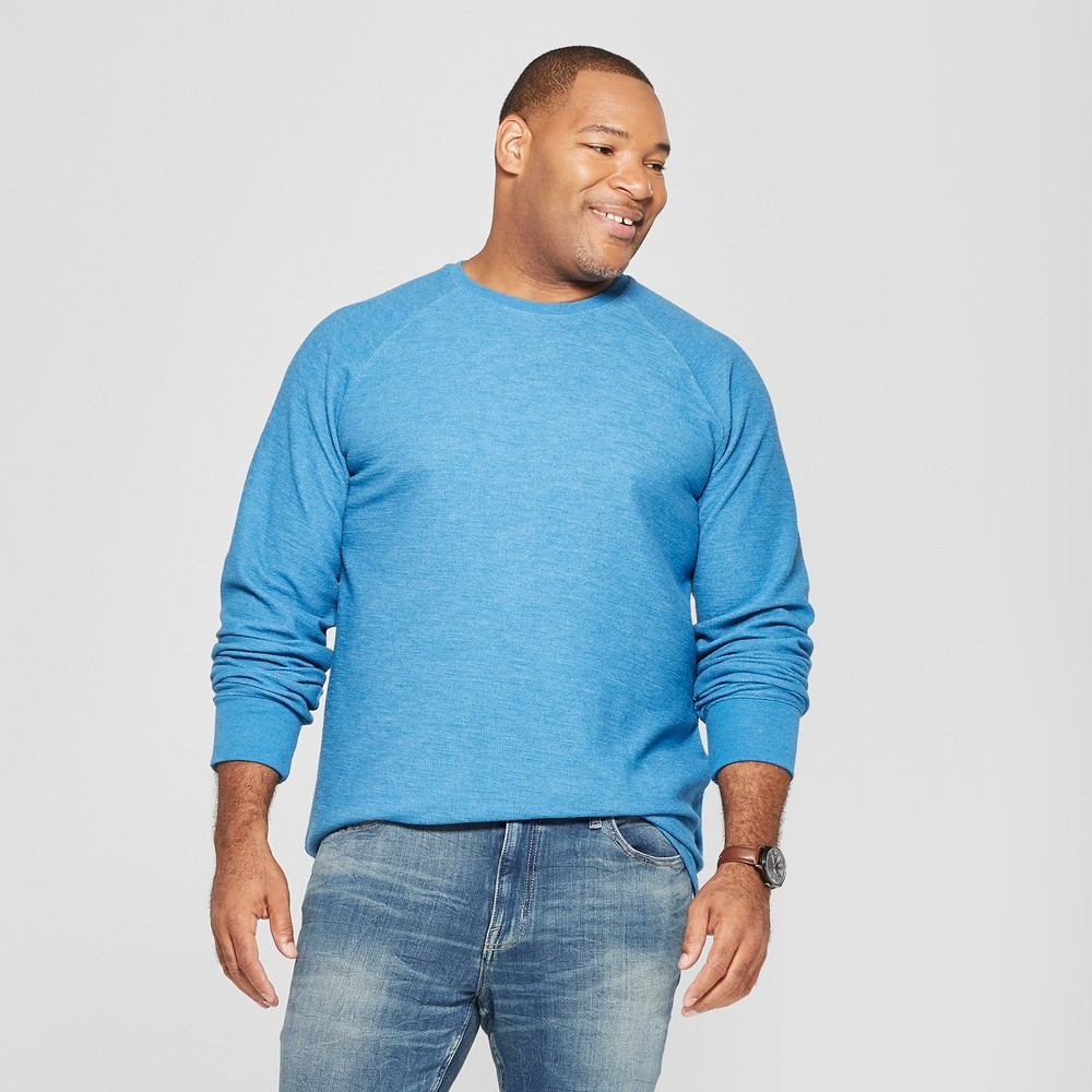 Men's Big & Tall Long Sleeve Textured Crew Neck Shirt - Goodfellow & Co Riviera Blue 2XBT
