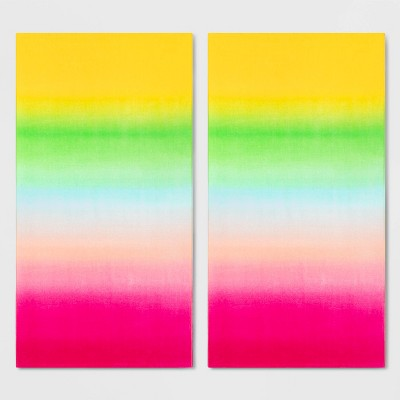 2pk Ombre Beach Towel Set Pink/Green - Sun Squad™