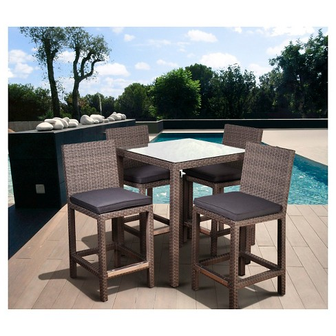 Coral Springs 5 pc Wicker Patio Bar Height Set - Gray - image 1 of 4