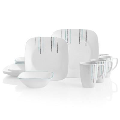 Corelle Square 16pc Vitrelle Rain Drops Dinnerware Set White/Blue