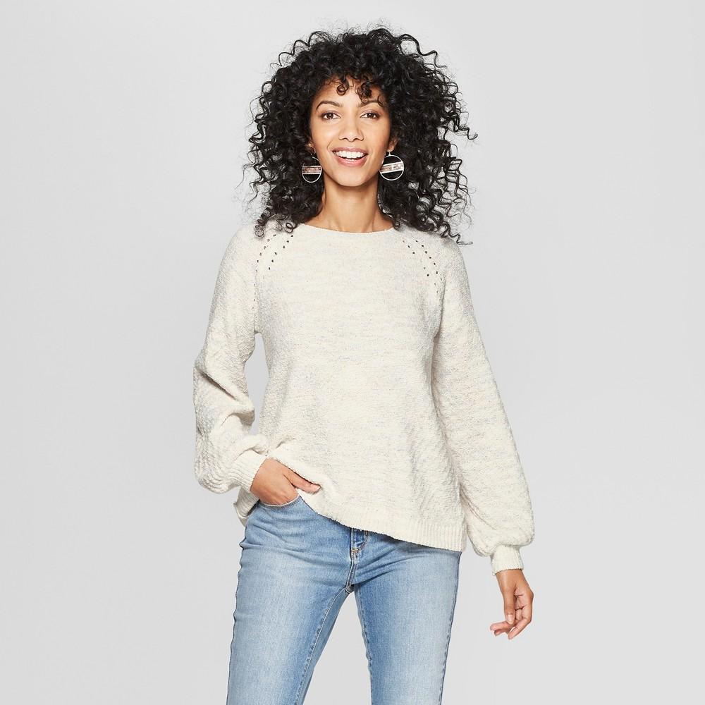 Women's Long Sleeve Back Detail Chenille Pullover - Knox Rose Ivory S, White