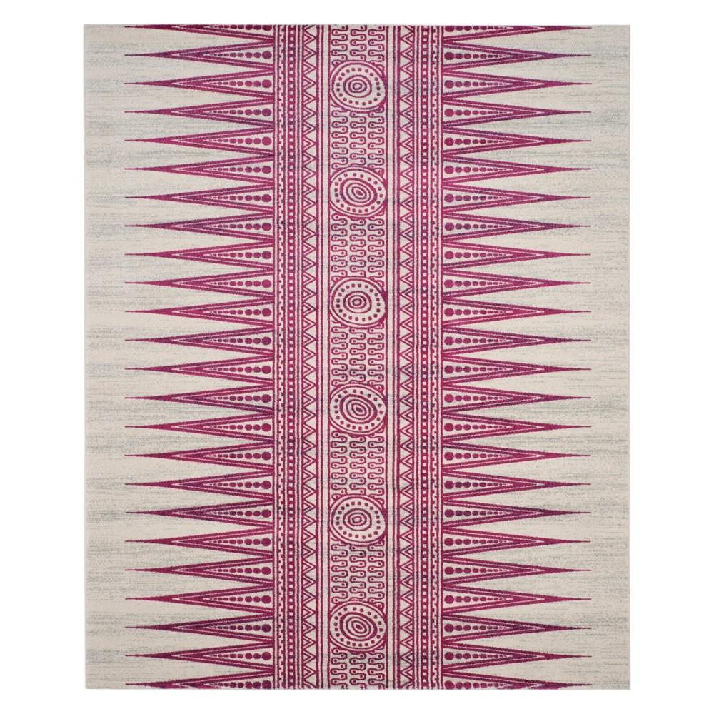 8'X10' Tribal Design Loomed Area Rug Ivory/Fuchsia (Ivory/Pink) - Safavieh