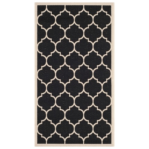 Sabel Outdoor Patio Rug - Black / Ivory - Safavieh® - image 1 of 4