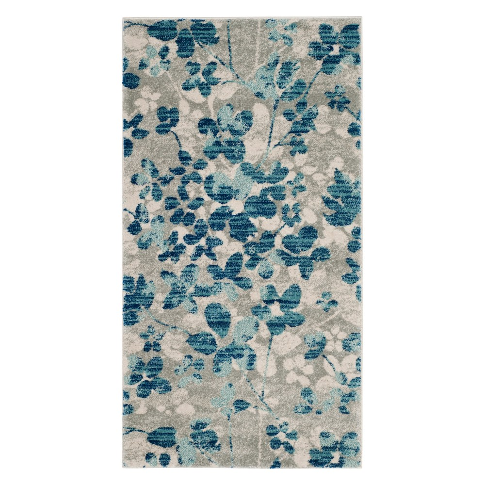 Floral Accent Rug Gray/Light Blue