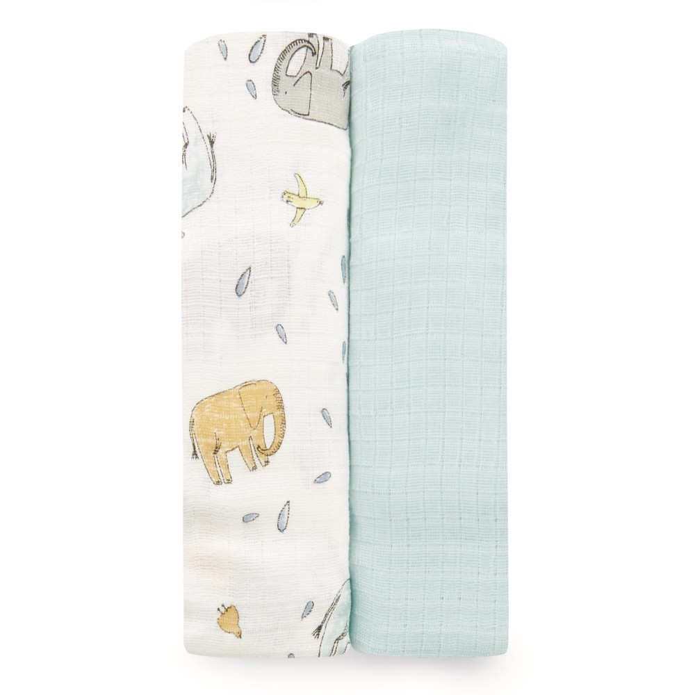 Image of aden by aden + anais Silky Soft Swaddles 2pk - Ellie Parade - White