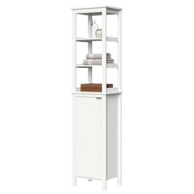 Tall Linen Cabinet With Open Shelves White   River Ridge by River Ridge