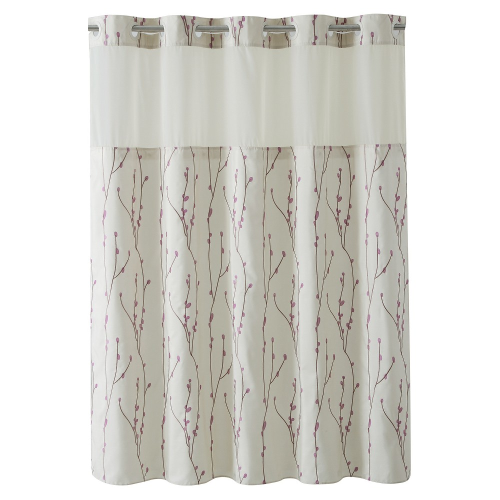 Image of Hookless Cherry Bloom Shower Curtain with Liner Taupe (Brown)