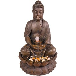 "Alpine Corporation 33"" Buddha Fountain With LED Lights - Light Brown"