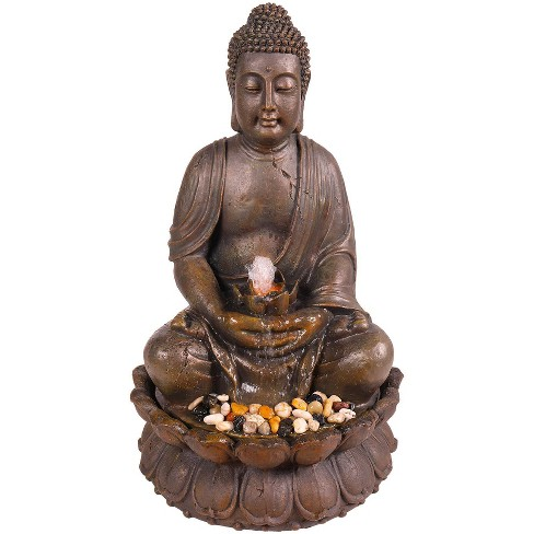 """Alpine Corporation 33"""" Buddha Fountain With LED Lights - Light Brown - image 1 of 4"""