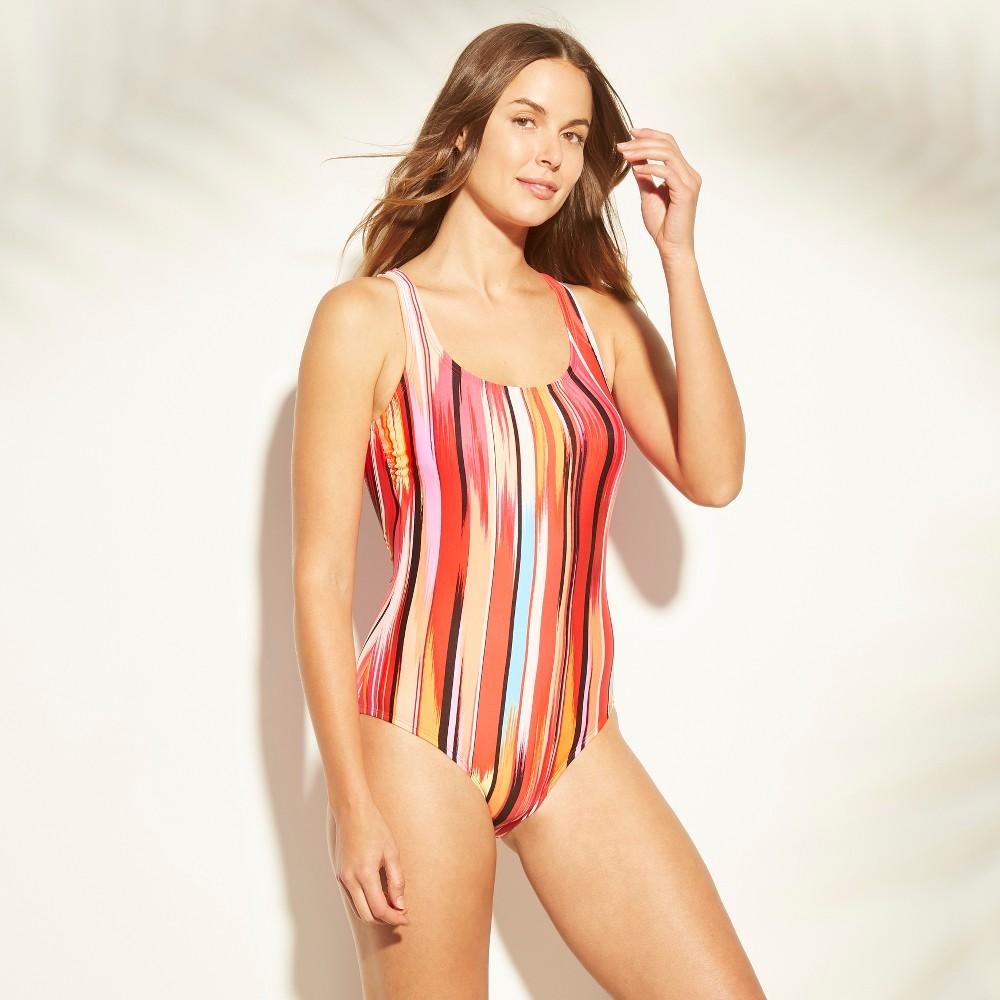Women's Scoop Neck Open Back One Piece Swimsuit - Clean Water Warm Stripe XS, Multicolored