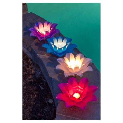 Poolmaster Floating Lotus Lights - Set of 4
