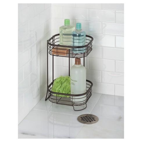 Free Standing Bathroom or Shower Storage Shelves- Square, 2 Tier ...