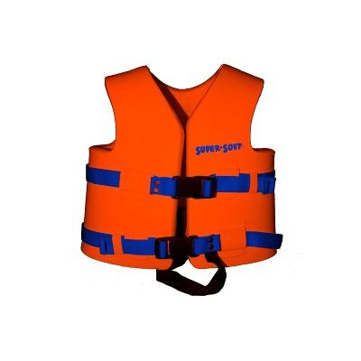 TRC Recreation 1020506 Super Soft X Small United States Coast Guard Approved Child Vinyl Coated Foam Life Preserver Floatation Vest, Sunset Orange
