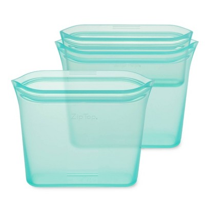 Zip Top Reusable 100% Platinum Silicone Container 3 Bag Set (2 sandwich/1 snack)- Teal