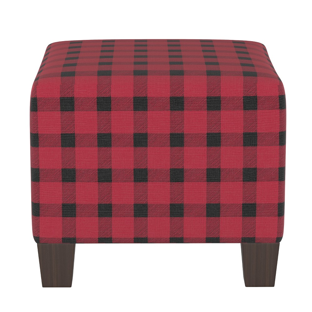 Image of Kids Square Ottoman Black/Red Plaid - Pillowfort