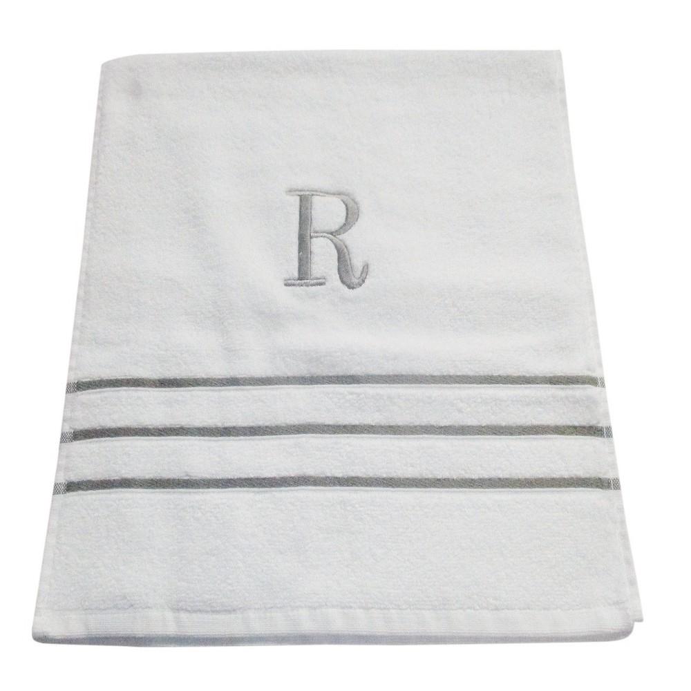 Monogram Hand Towel R - White/Skyline Gray - Fieldcrest