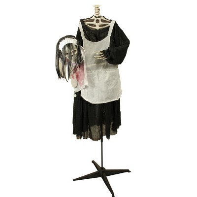"""Northlight 57"""" LED Lighted and Animated Head-in-Hand Skeleton Maid Halloween Decoration"""