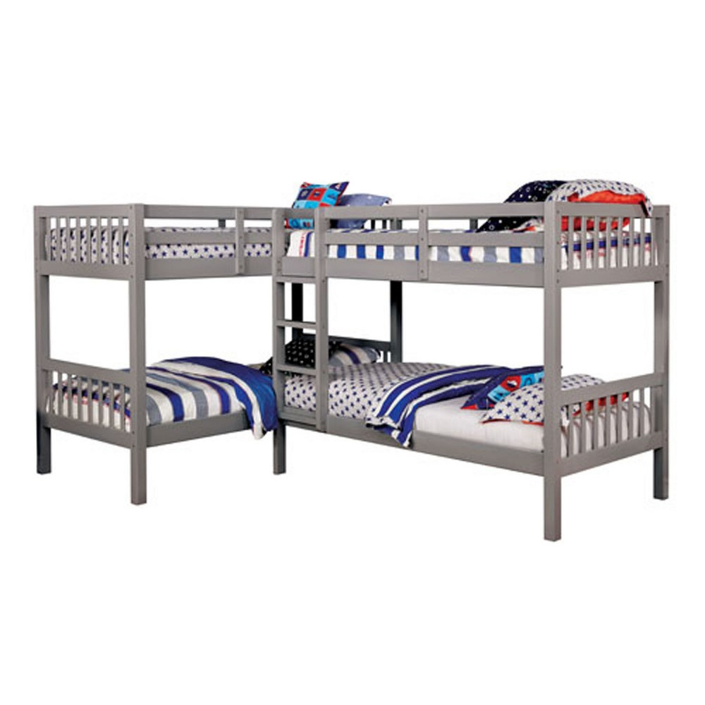 Twin Fritz Kids Bunk Bed Quadruple Bunk Bed Gray - Homes: Inside + Out
