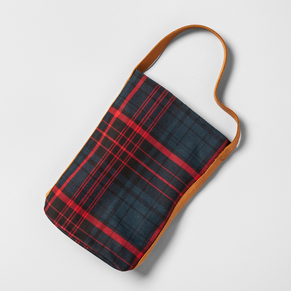 Wine Tote Plaid Leather Handle - Blue/Red - Hearth & Hand with Magnolia