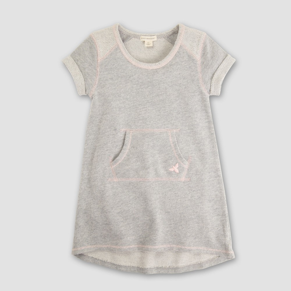 Burt's Bees Baby Toddler Girls' Solid Short Sleeve Tunic Dress - Gray 3T, Pink Gray