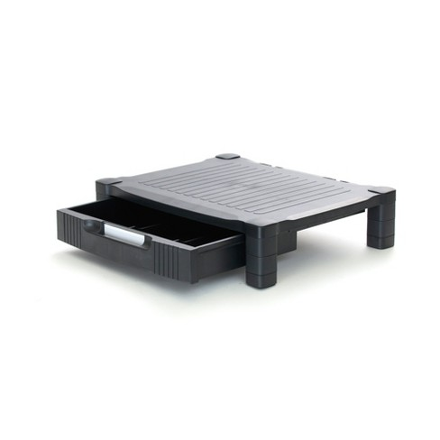 """4"""" Plastic Monitor Stand with Drawer Black - Mind Reader - image 1 of 4"""