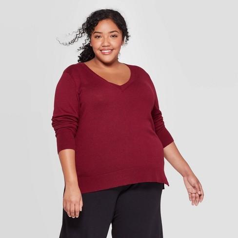 Women's Plus Size V-Neck Pullover Sweater - Ava & Viv™ - image 1 of 2