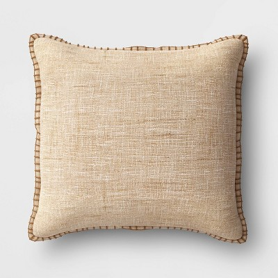 Oversized Square Textured Pillow with Blanket Stitch Edge Tan - Threshold™