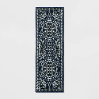 "2'3""X7' Runner Butterfield Woven Rug Navy - Threshold™"