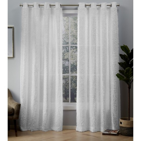 Eyelash Grommet Top Window Curtain Panel Pair White - Exclusive Home - image 1 of 4