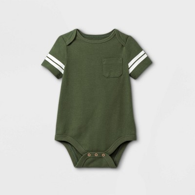 Baby Boys' Pocket Short Sleeve Bodysuit - Cat & Jack™ Deep Olive 0-3M