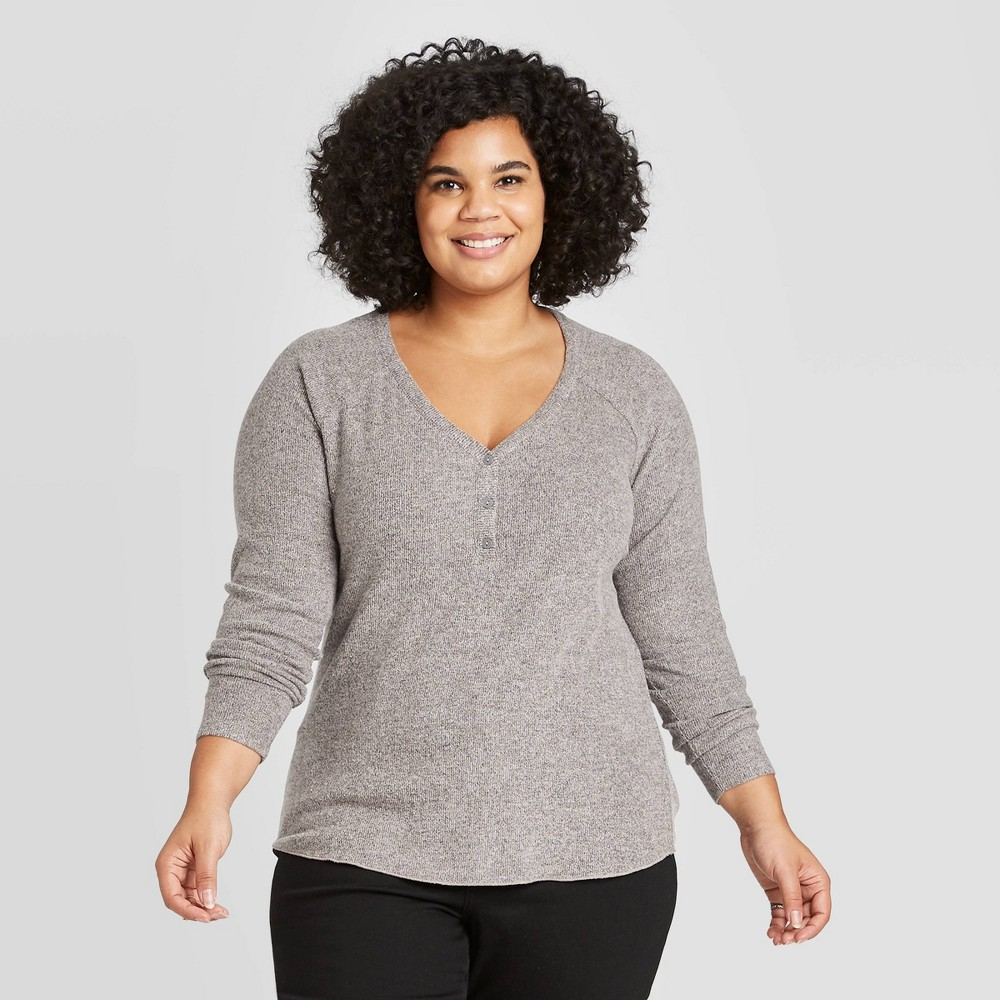 Women's Plus Size Long Sleeve Henley Neck Cozy Rib Shirt - Universal Thread Mauve 3X, Women's, Size: 3XL, Pink was $17.99 now $12.59 (30.0% off)